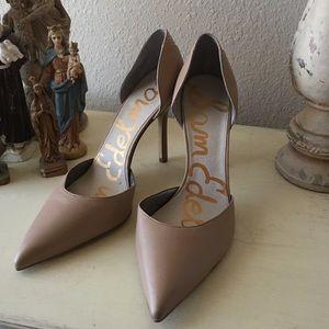 Sam Edelman Nude D'Orsay Leather Heels